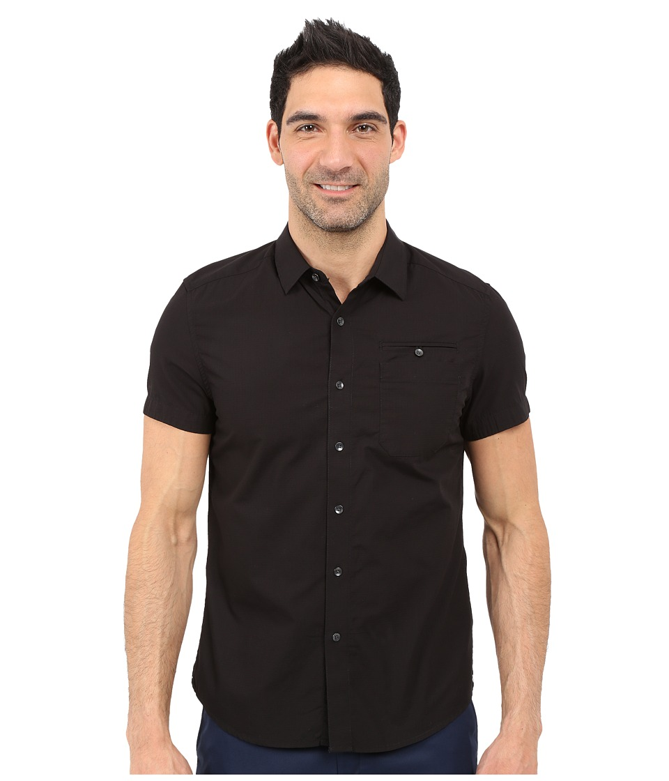 Kenneth Cole Sportswear Short Sleeve Button Down Ripstop Black Mens Short Sleeve Button Up