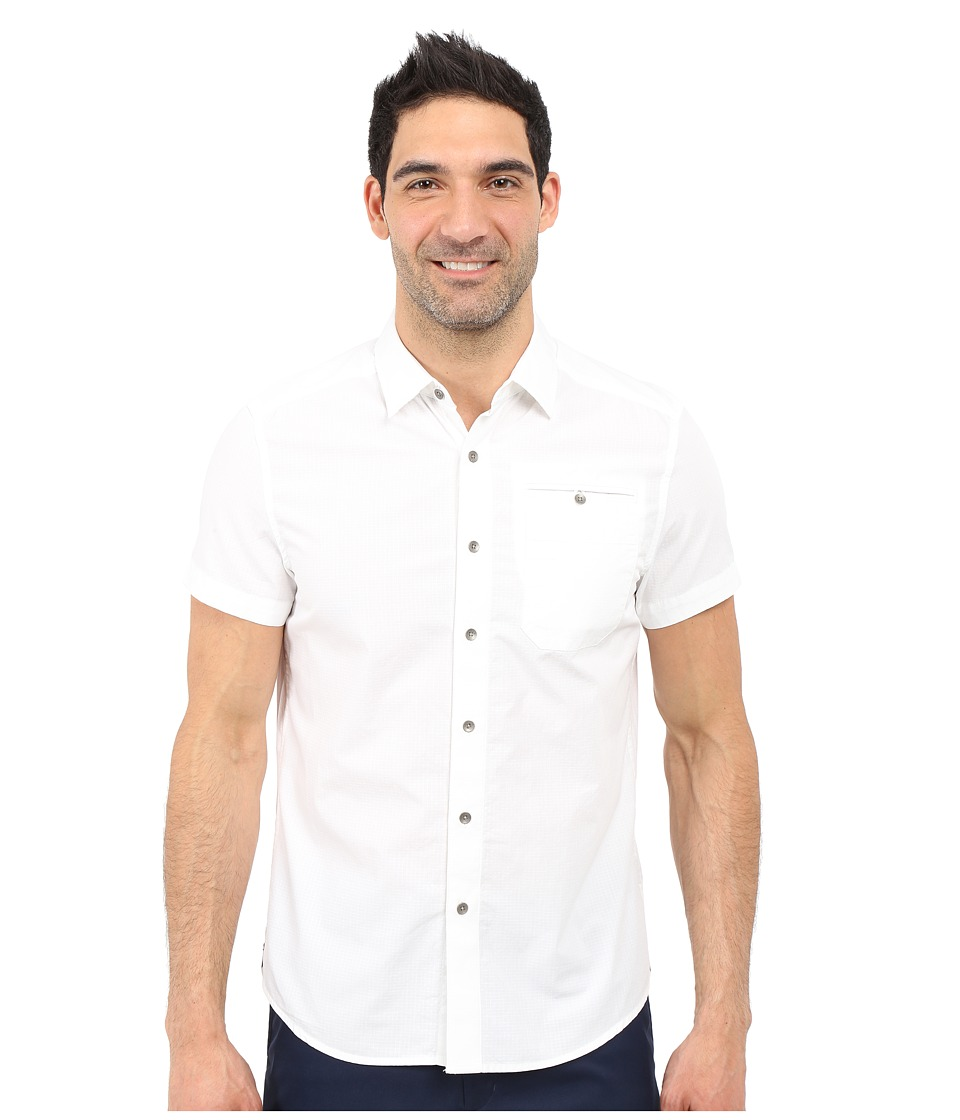 Kenneth Cole Sportswear Short Sleeve Button Down Ripstop White Mens Short Sleeve Button Up