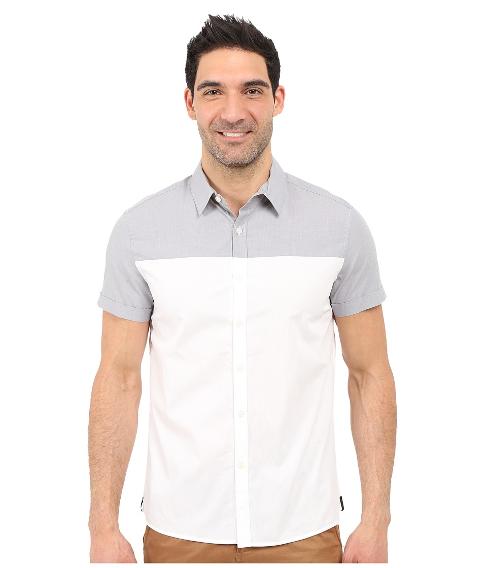 Kenneth Cole Sportswear Colorblock Button Front Shirt Dim Grey Combo Mens Short Sleeve Button Up