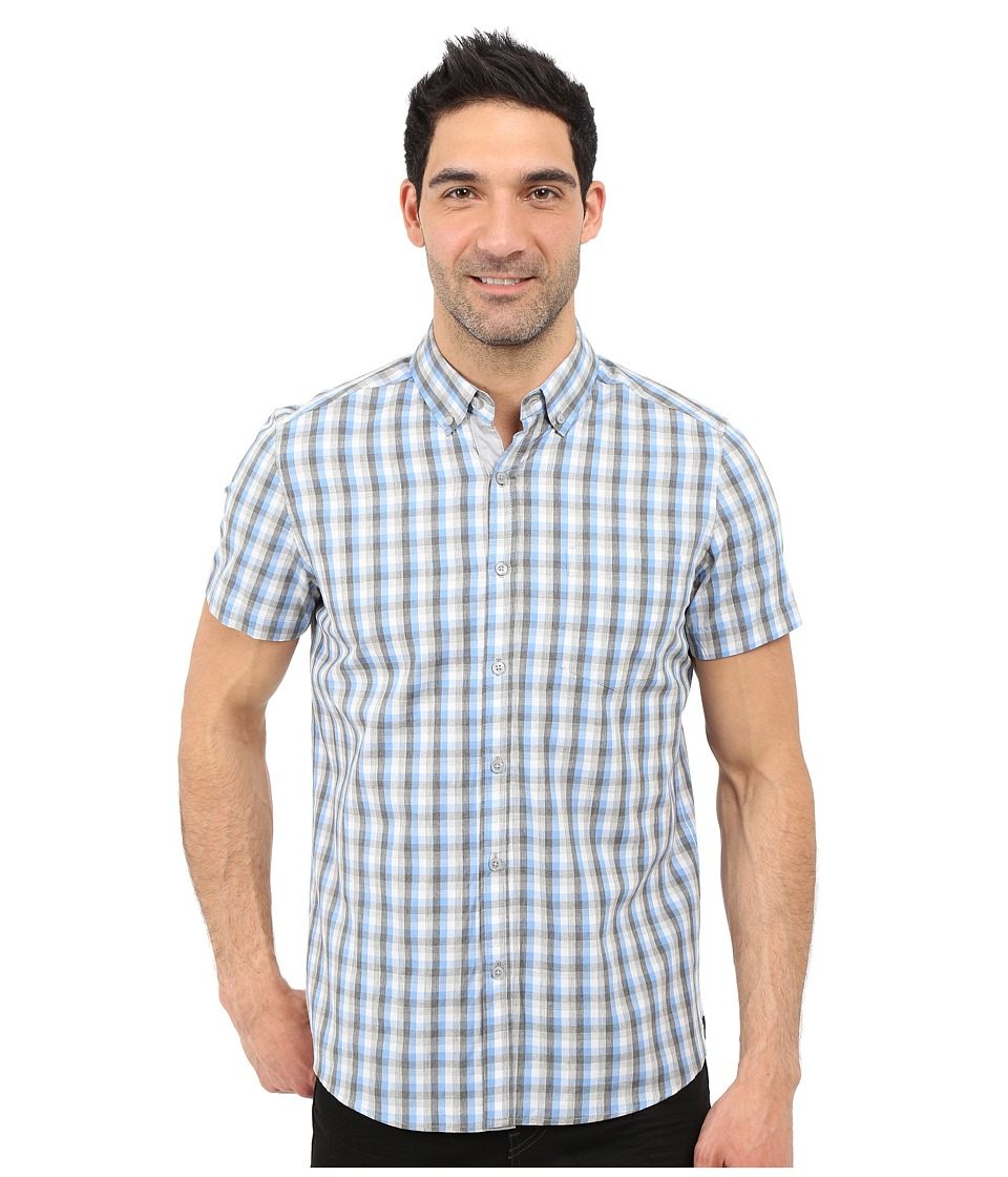 Kenneth Cole Sportswear Short Sleeve Button Down Heather Plaid Soft Sky Combo Mens Short Sleeve Button Up