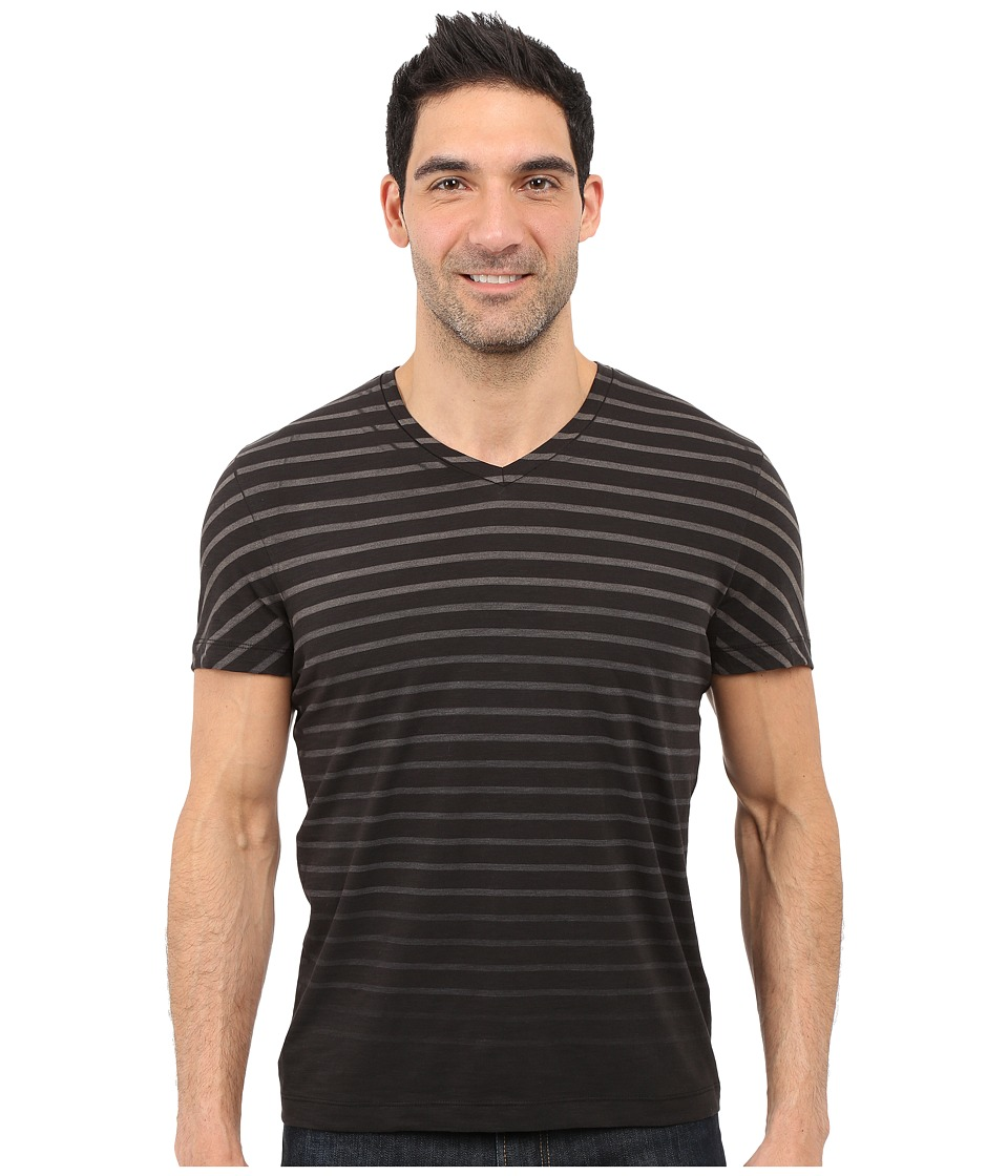 Kenneth Cole Sportswear Stripe V Neck Tee Black Mens Short Sleeve Pullover