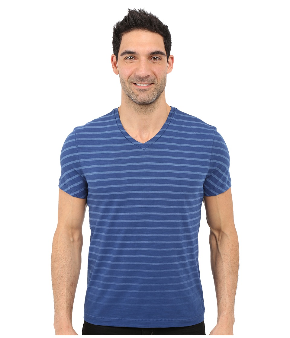 Kenneth Cole Sportswear Stripe V Neck Tee Smokey Blue Mens Short Sleeve Pullover