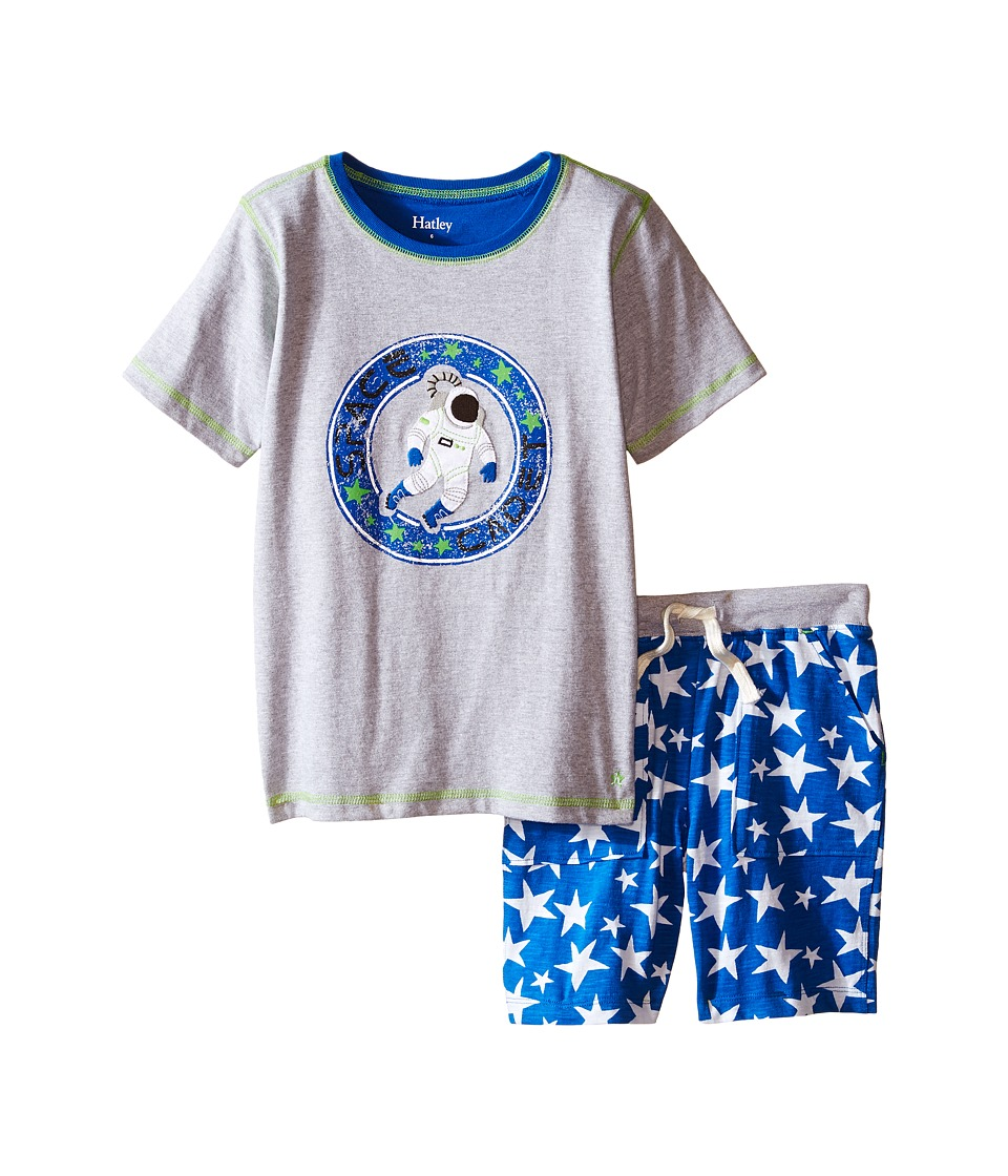 Hatley Kids Astronauts In Space Tee Shorts Set Toddler/Little Kids/Big Kids Grey Boys Pajama Sets