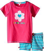 Hatley Kids - Flower Hearts Button Tee & Shorts Set (Toddler/Little Kids/Big Kids)