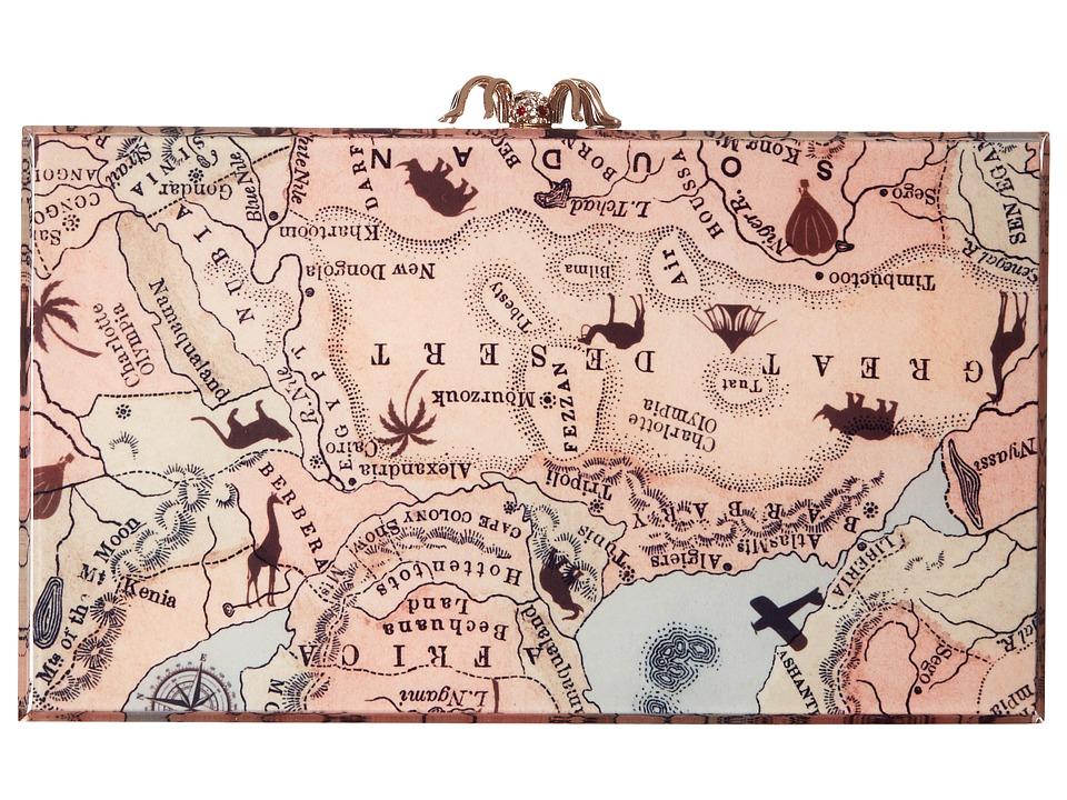 Charlotte Olympia Printed Pandora Map Print Clutch Handbags