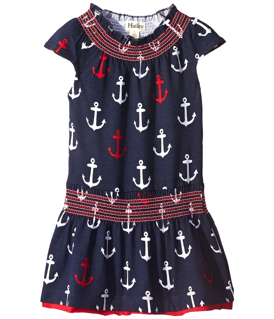 Hatley Kids Anchor Smocked Dress Toddler/Little Kids/Big Kids Blue Girls Dress