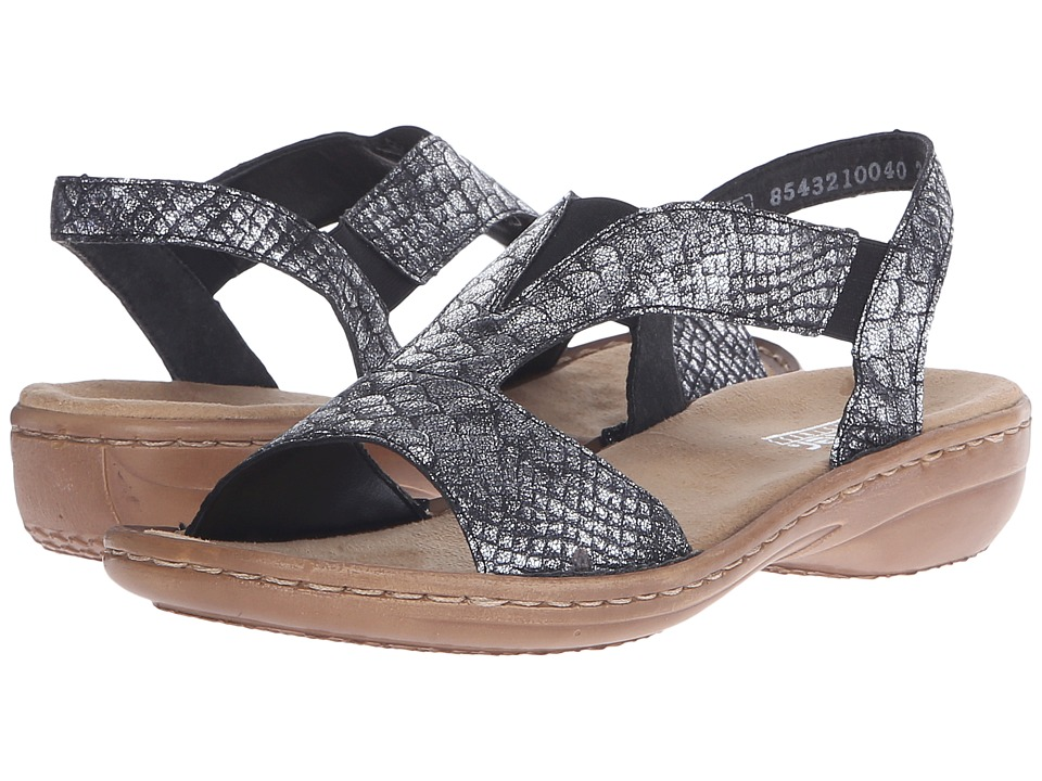 Rieker 608B6 Regina B6 Altsilber Womens Sandals