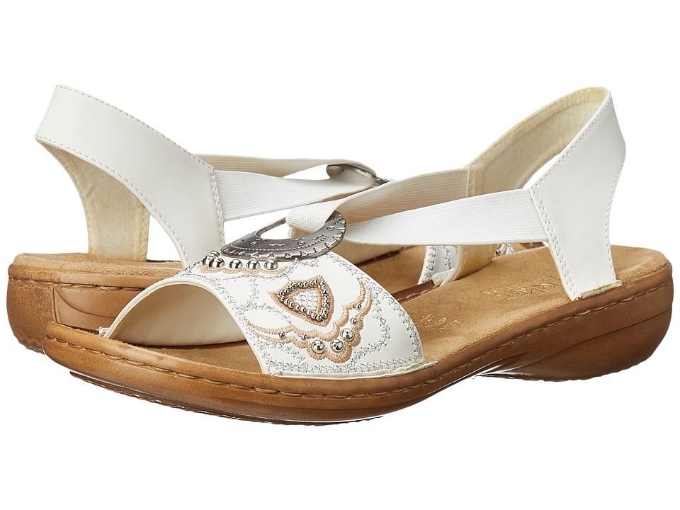 Rieker 608B9 Regina B9 Bianco Womens Sandals