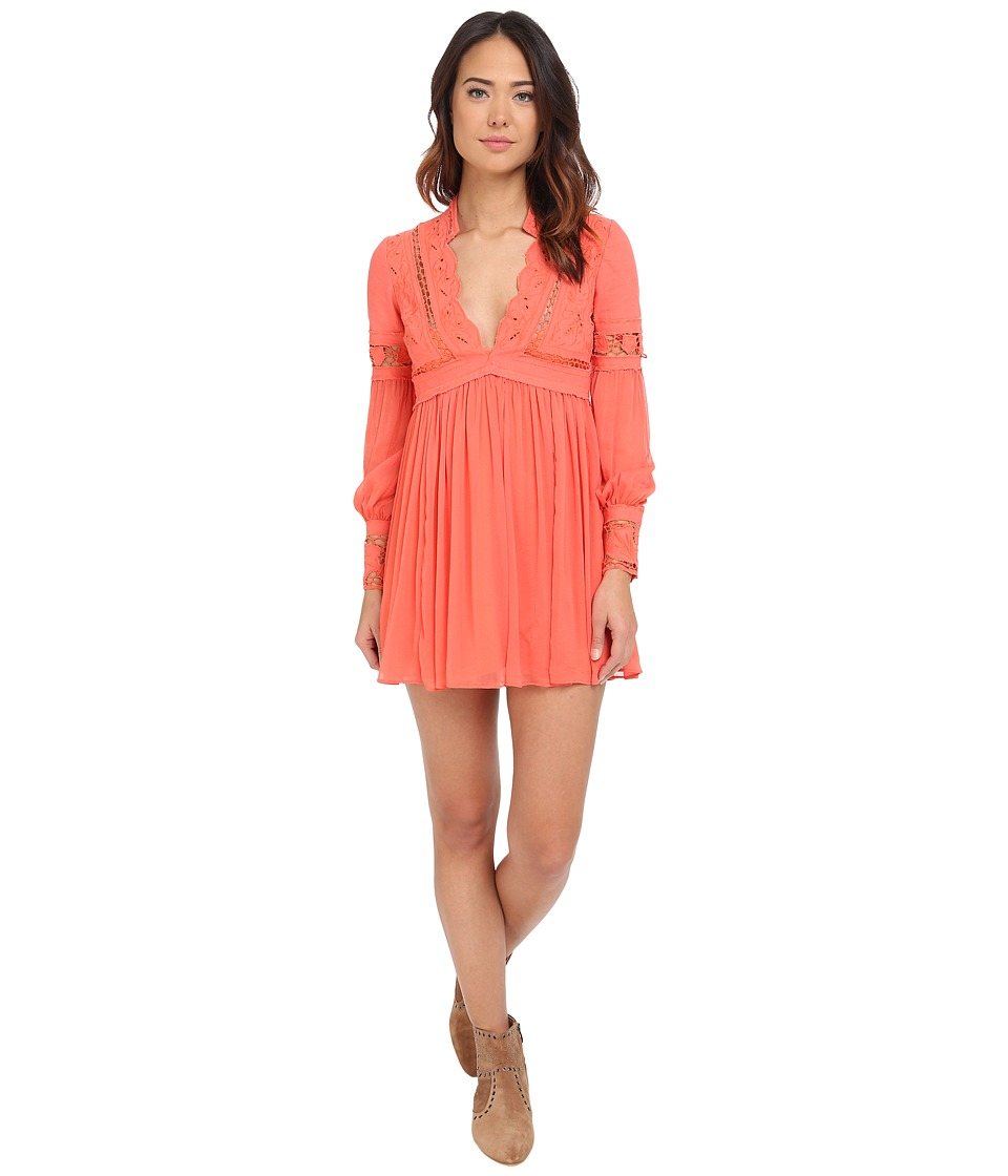 Free People In Dreamland Mini Dress Coral Womens Dress