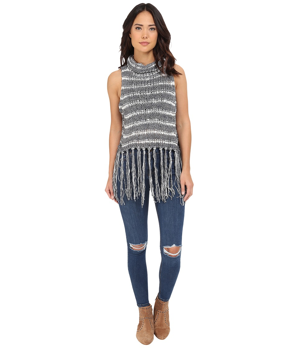 Free People Folksong Frindge Vest Midnight Combo Womens Sweater