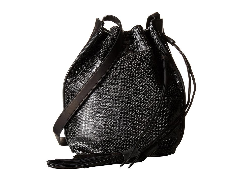 Botkier Haven Bucket Black Snake Cross Body Handbags