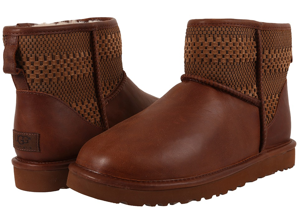UGG Classic Mini Weave (Chestnut Suede/Textile/Leather) Men