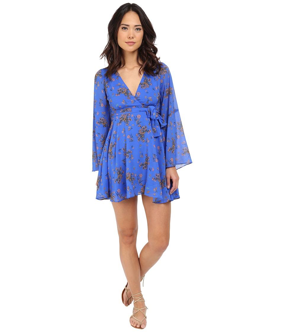 Free People Lilou Chiffon Dress Cobalt Combo Womens Dress
