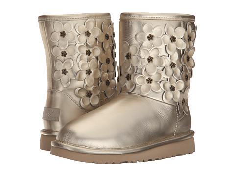 UGG Kids Classic Short Flora (Little Kid/Big Kid) - Soft Gold Leather