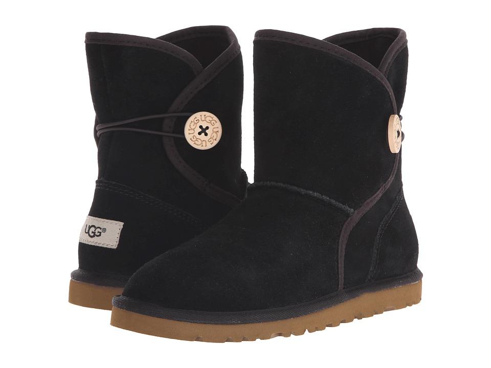 UGG Kids Leona Toddler/Little Kid/Big Kid Black Suede Girls Shoes