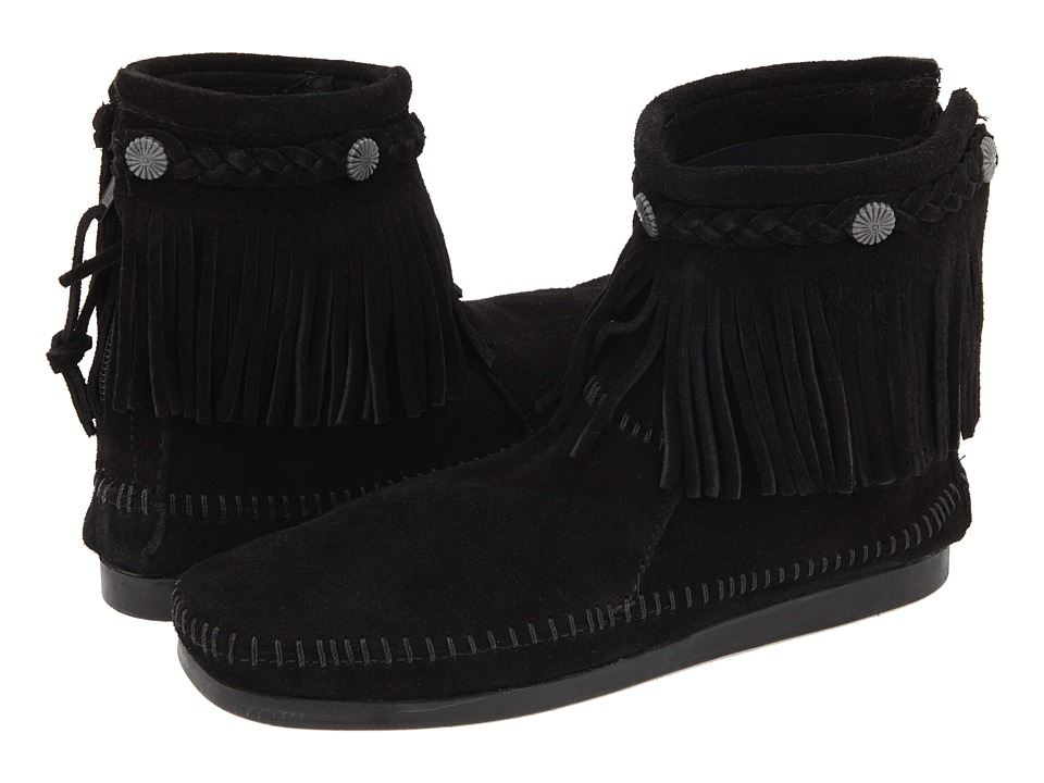 Minnetonka - Hi-Top Back Zip Boot (Black Suede) Womens Zip Boots