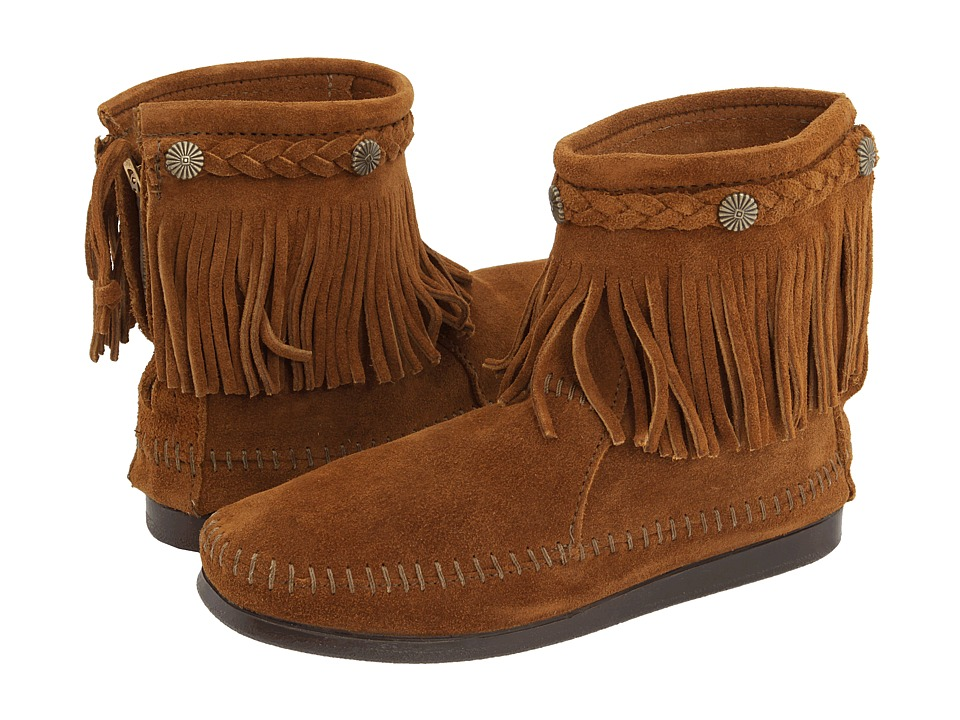 Minnetonka - Hi-Top Back Zip Boot (Brown Suede) Women