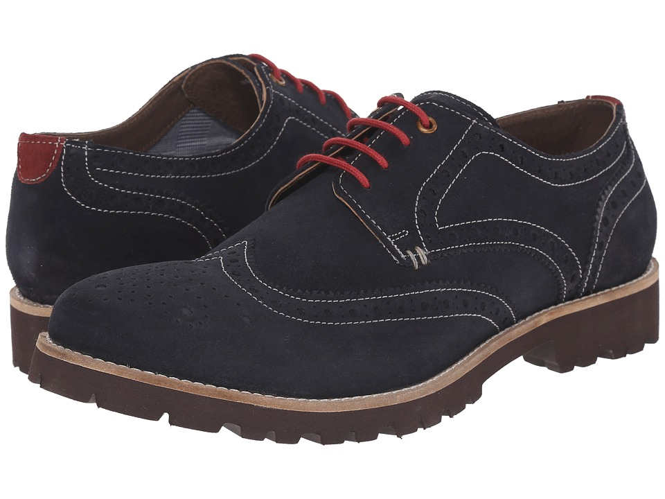 Lotus Evan Navy Suede Mens Lace Up Wing Tip Shoes