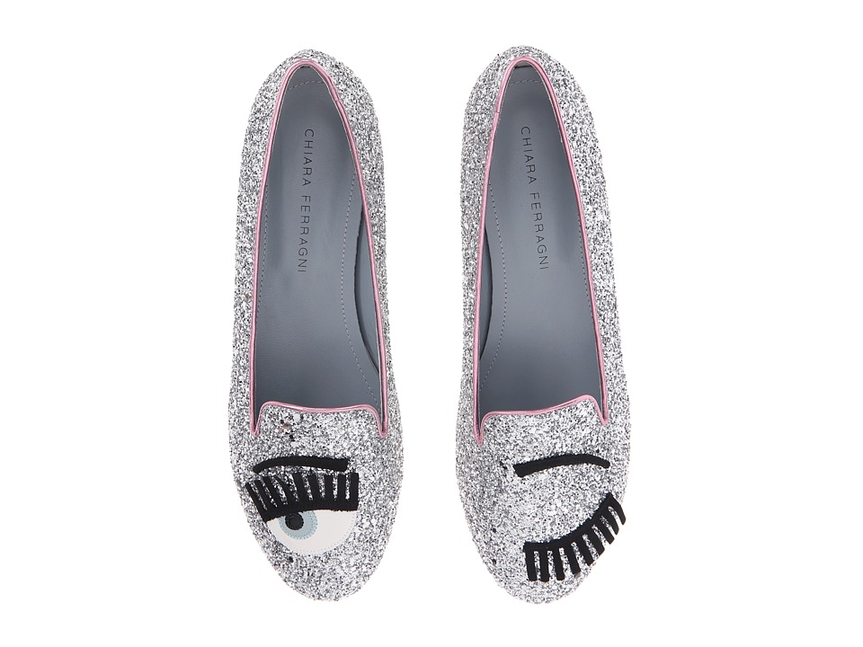 Chiara Ferragni Glitter Flirting Round Flat Silver/Pink Trim Womens Shoes