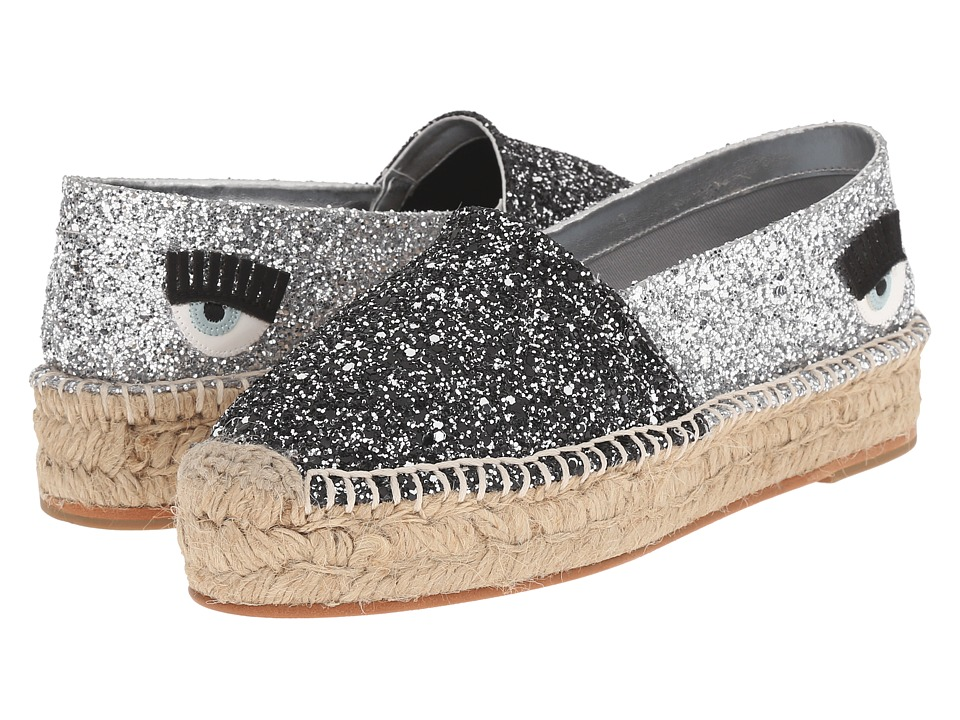 Chiara Ferragni Glitter Flirting Espadrilles Charcoal/Silver Two Tone Womens Shoes