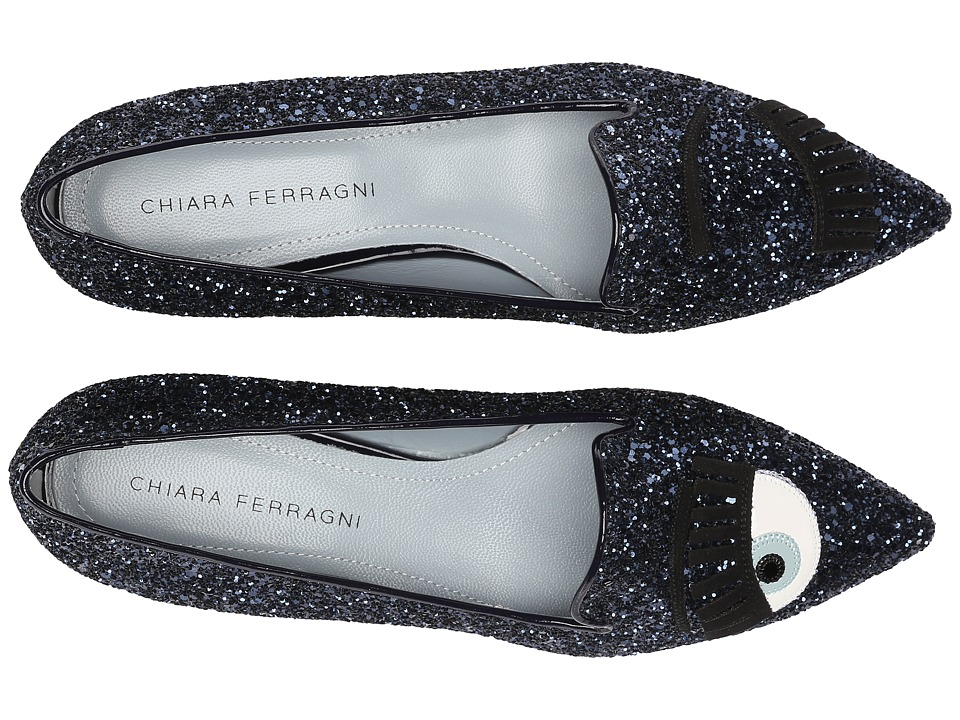 Chiara Ferragni Glitter Flirting Pointed Toe Flat Navy Womens Dress Flat Shoes