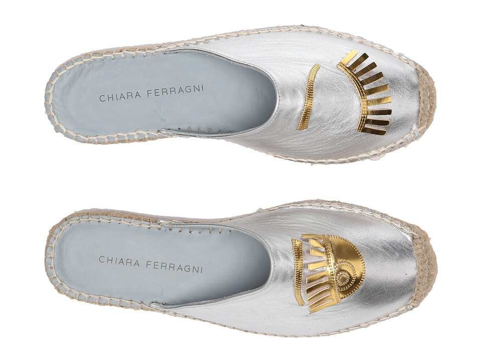 Chiara Ferragni Metallic Flirting Espadrille Mules Silver/Gold Trim Womens Shoes