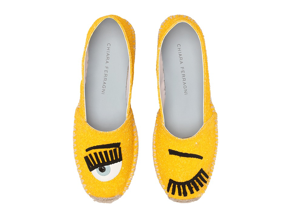 Chiara Ferragni Glitter Flirting Espadrilles Yellow Womens Shoes