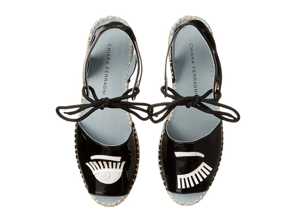 Chiara Ferragni Patent Flirting Espadrille Black/White Trim Womens Shoes
