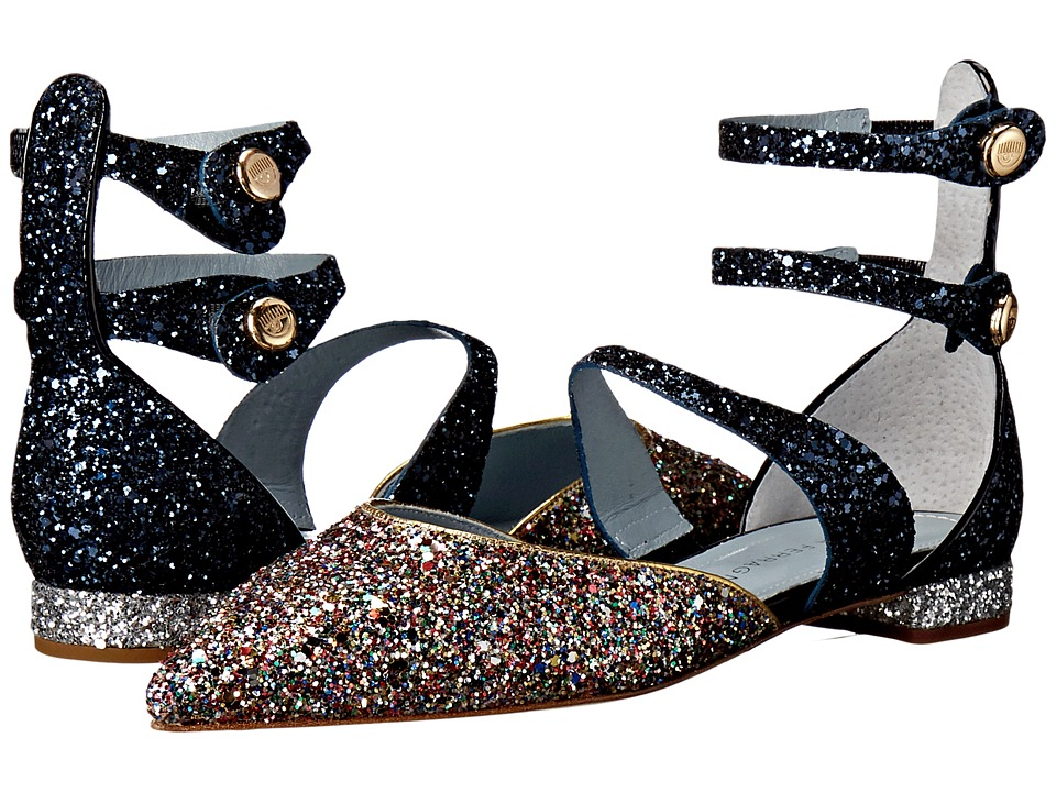 Chiara Ferragni Jackie Glitter Pointy Toe Flat Multi/Navy Trim Womens Shoes