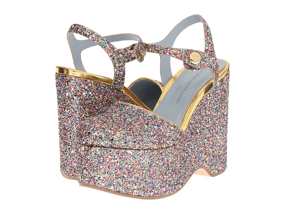 Chiara Ferragni Donna Glitter Platform Multi Womens Shoes