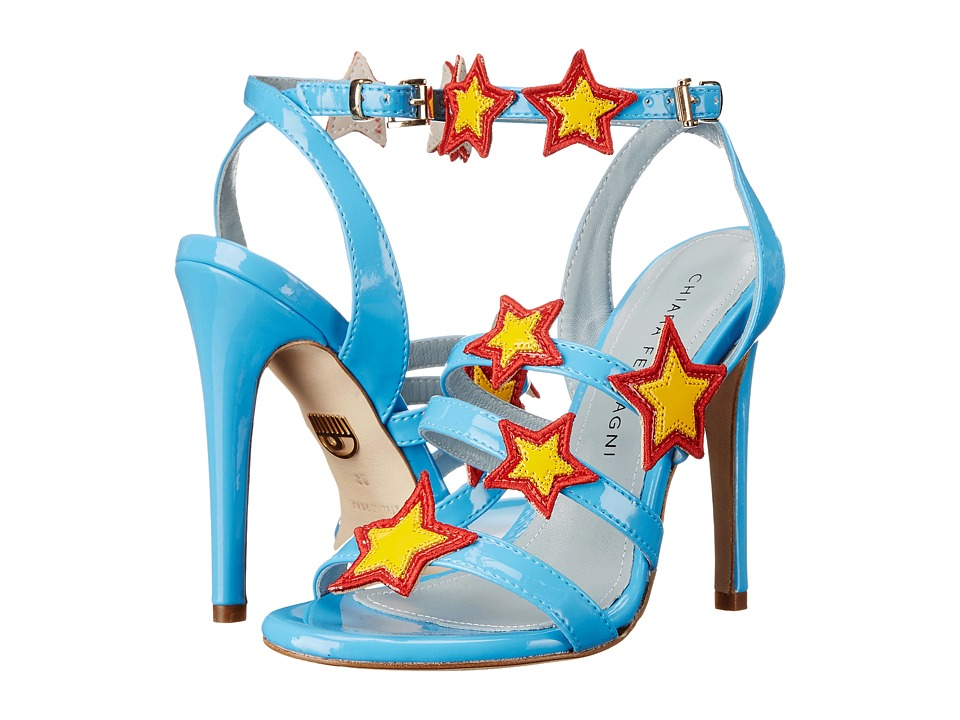 Chiara Ferragni Stars Patent Strappy Heels Light Blue/Red/Yellow Trim Womens Shoes