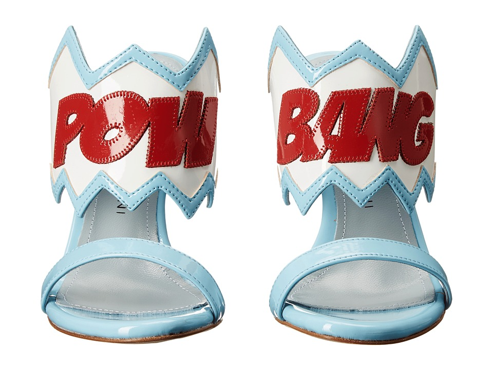 Chiara Ferragni Pow Bang Sandal Heels Light Blue/White/Red Trim Womens Shoes