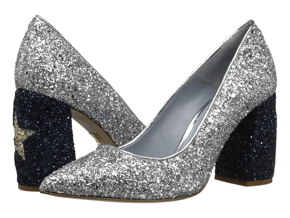 Chiara Ferragni Star Glitter Chunky Heel Silver/Navy Womens Shoes
