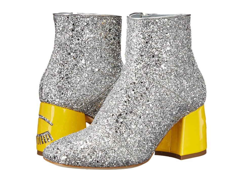 Chiara Ferragni Flirting Glitter Ankle Boot Silver/Yellow Womens Shoes