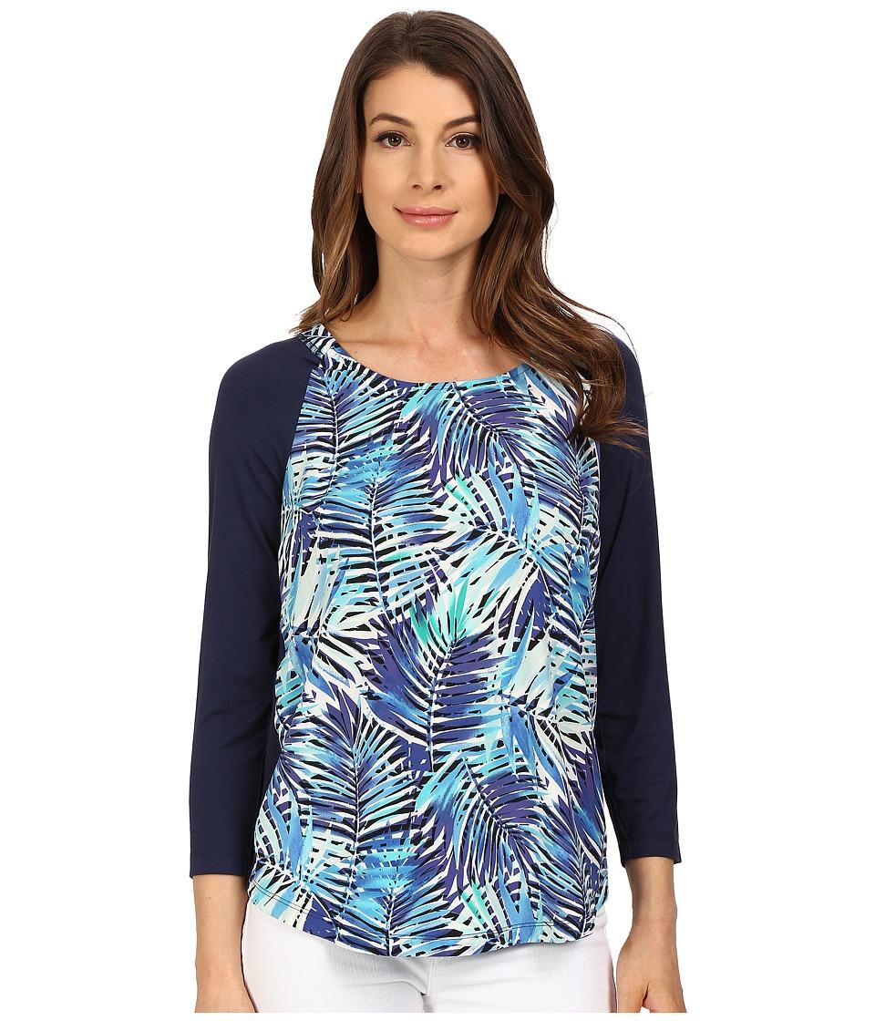 NYDJ 3/4 Sleeve Mixed Media Tee Tropicana Leaves Womens T Shirt