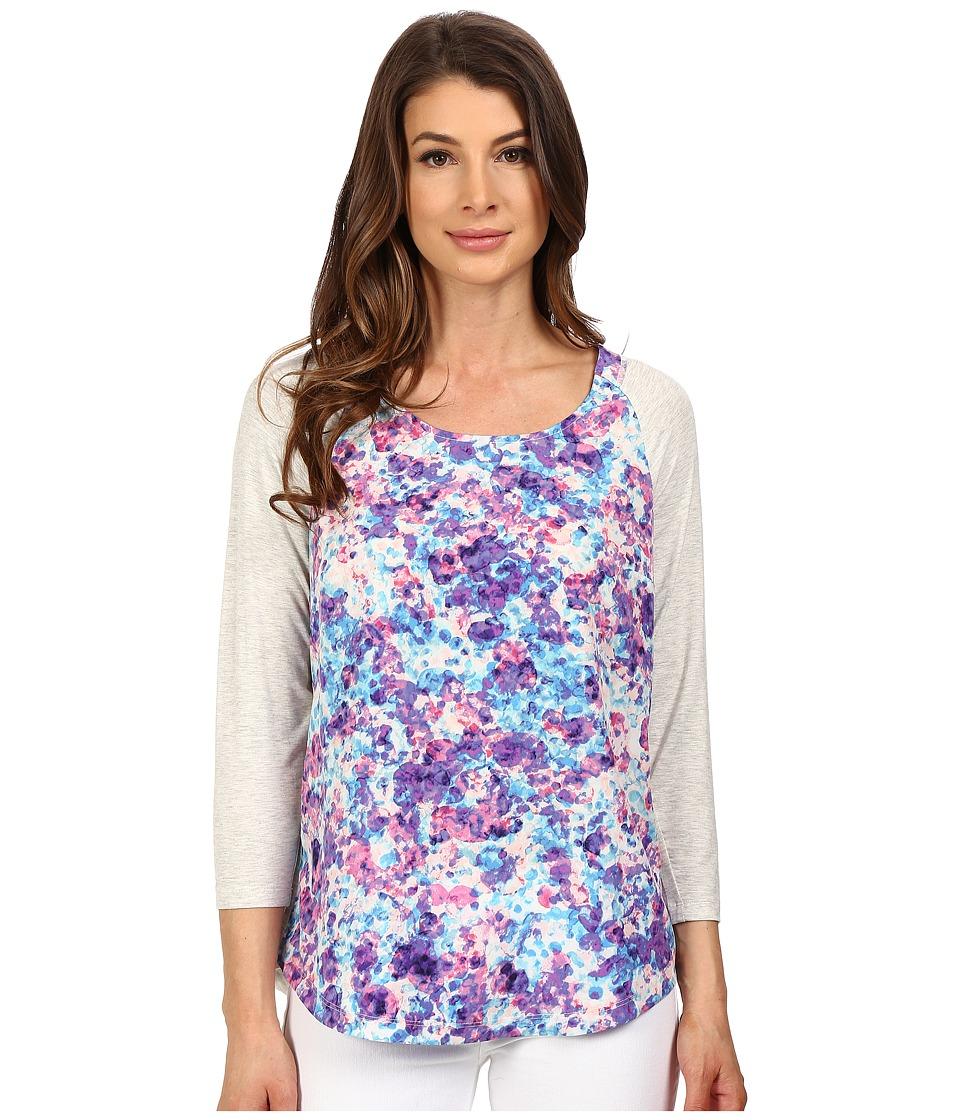 NYDJ 3/4 Sleeve Mixed Media Tee Begonia Flourish Womens T Shirt