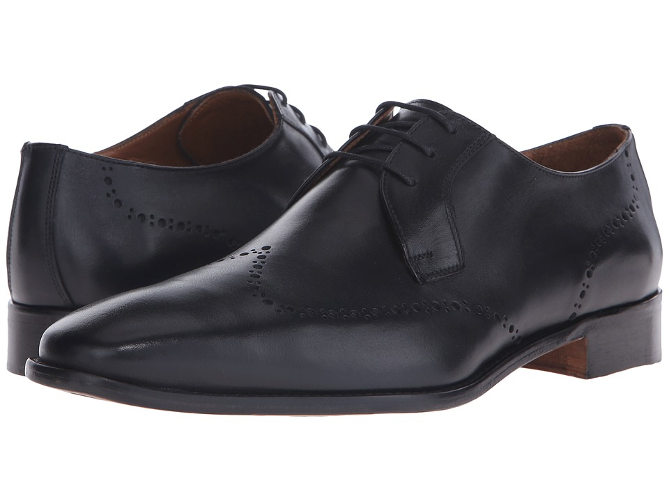 Massimo Matteo 3 Eye Whole Cut Blucher Black Mens Lace Up Wing Tip Shoes