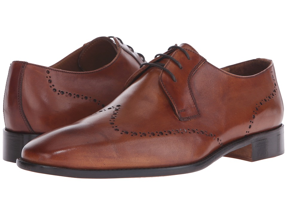 Massimo Matteo 3 Eye Whole Cut Blucher Cognac Mens Lace Up Wing Tip Shoes