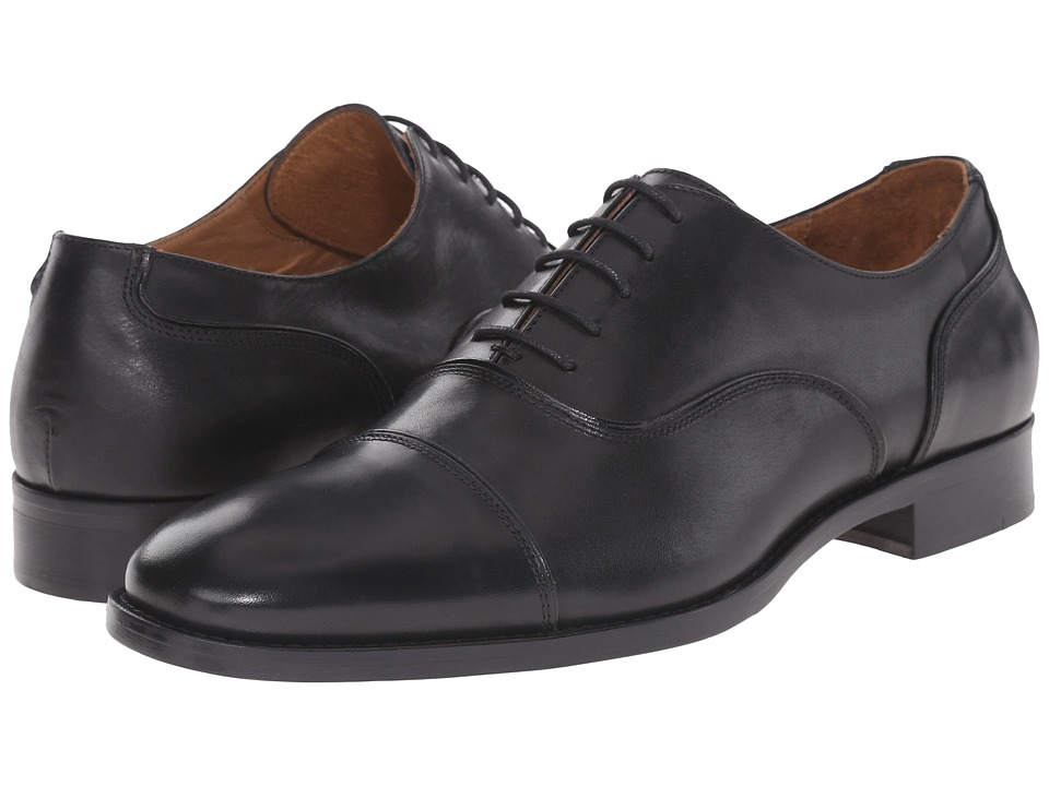 Massimo Matteo 5 Eye Bal Cap Toe 16 Black Mens Lace Up Cap Toe Shoes