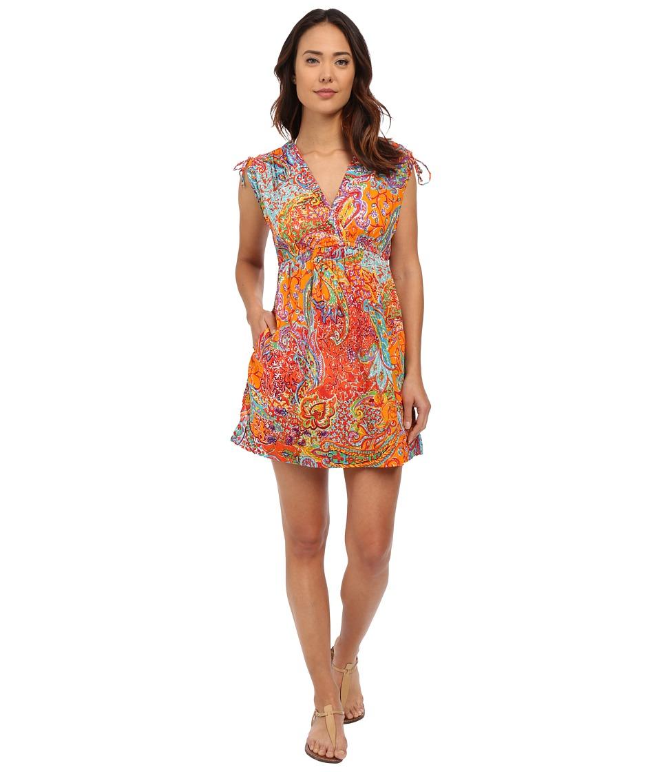 LAUREN Ralph Lauren Maharaja Paisley Farrah Dress Cover Up Coral Womens Swimwear