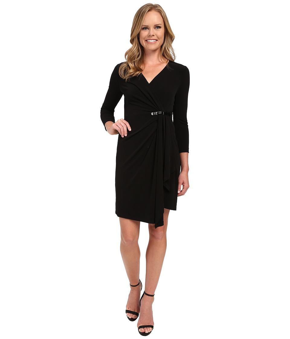 NYDJ Dianne Lux Matte Jersey Dress Black Womens Dress