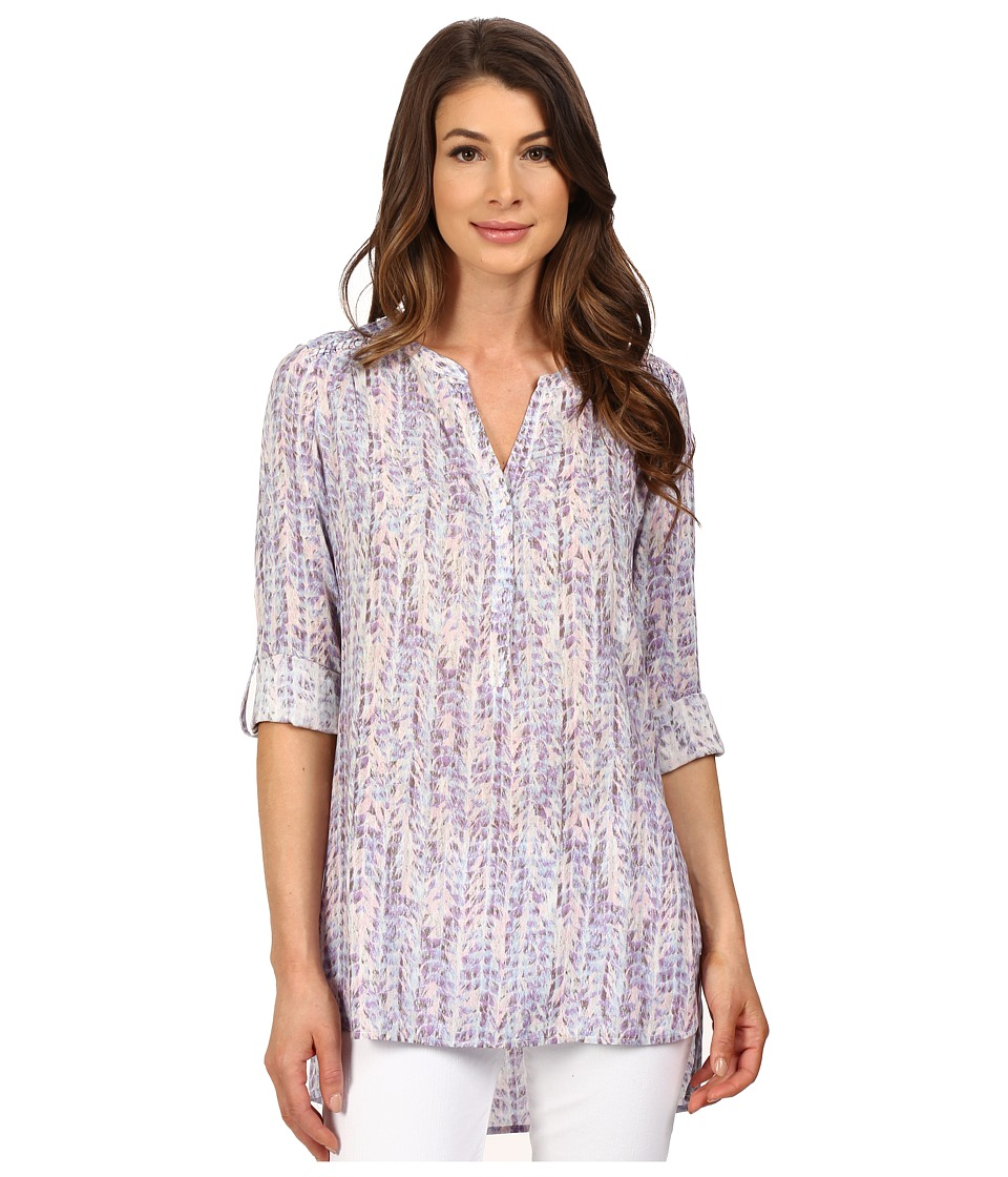 NYDJ - Knotted Trim Henley Tunic (Feathery Camille) Women
