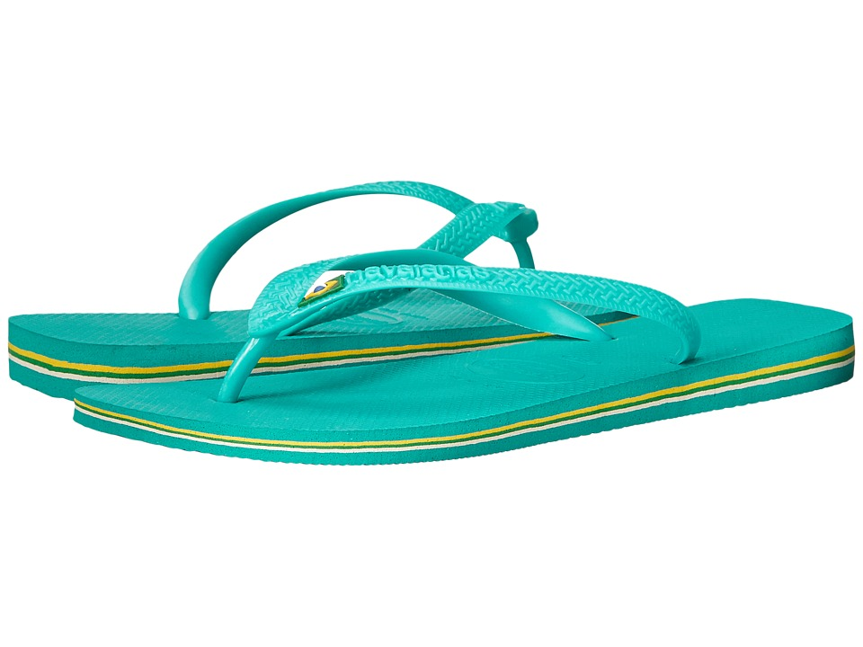 Havaianas Brasil Flip Flops Lake Green/Lake Green Mens Sandals