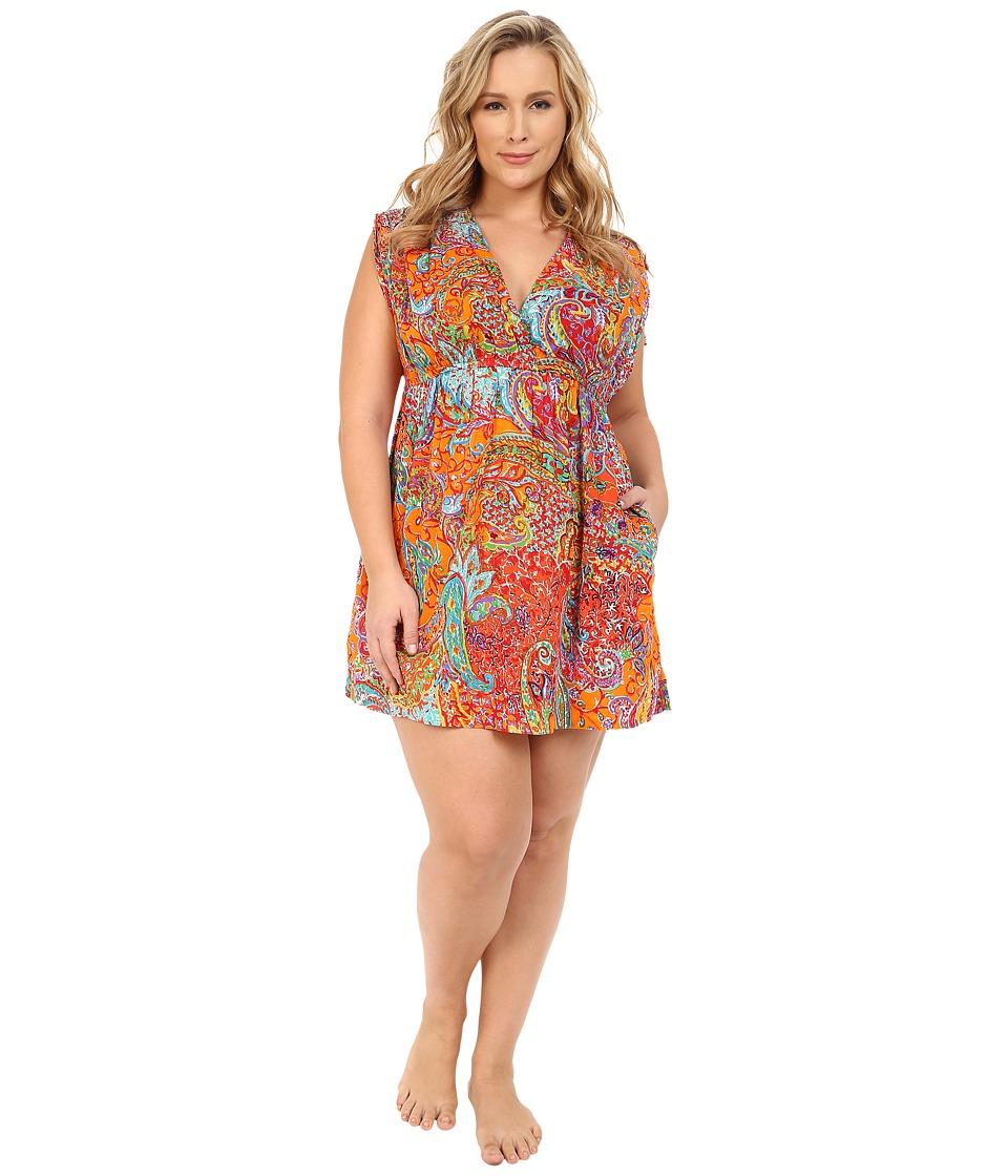 LAUREN Ralph Lauren Plus Size Maharaja Paisley Farrah Dress Cover Up Coral Womens Swimwear