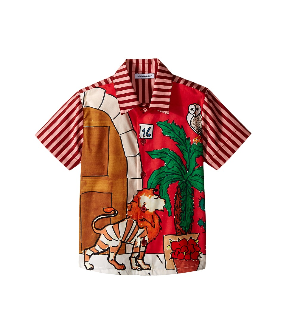 Dolce amp Gabbana Kids Cactus Button Up Toddler/Little Kids Red Boys Short Sleeve Button Up