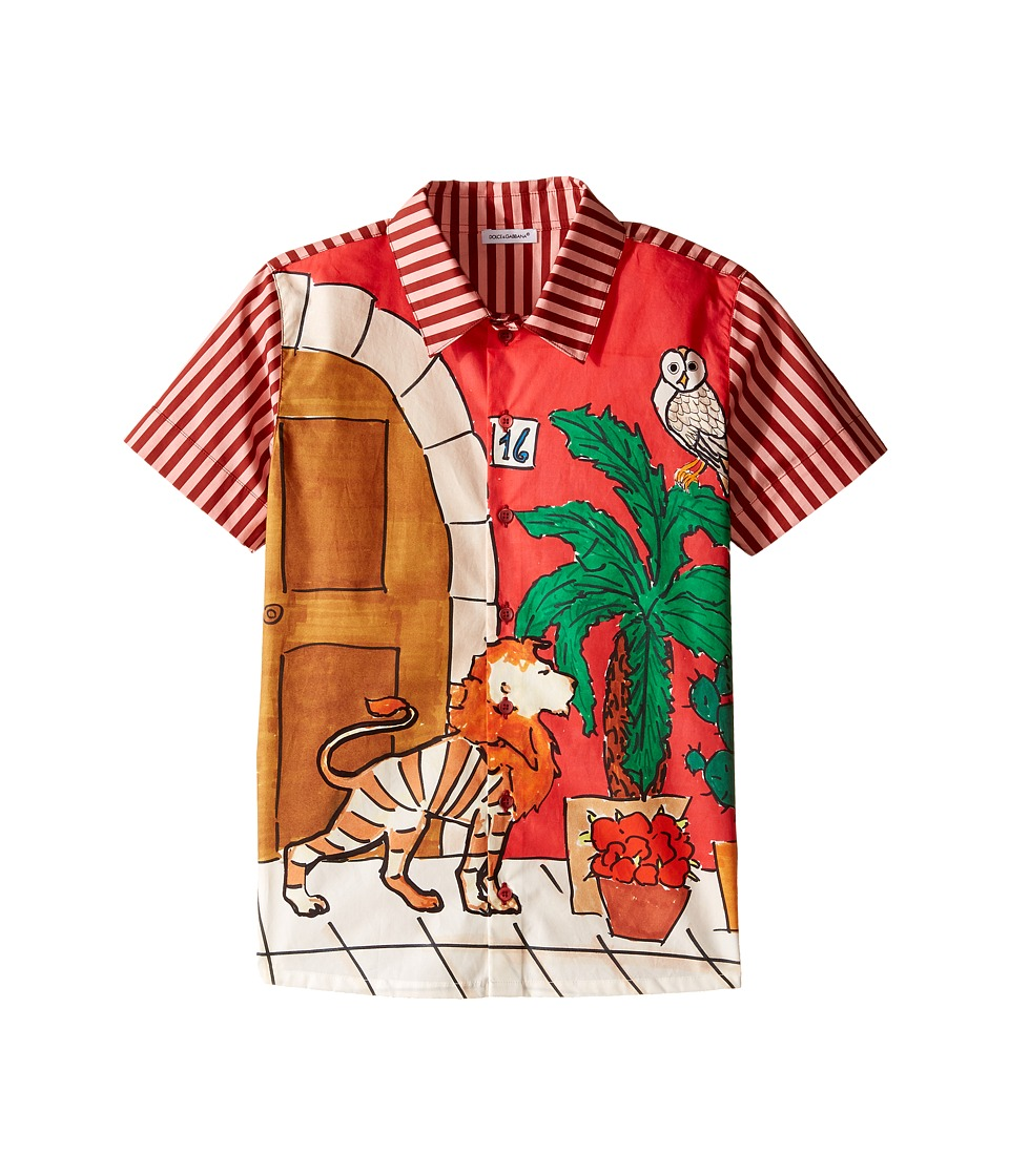 Dolce amp Gabbana Kids Cactus Button Up Big Kids Red Boys Clothing