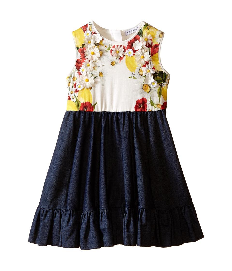 Dolce amp Gabbana Kids Fiori Denim Dress Toddler/Little Kids Denim Print Girls Dress