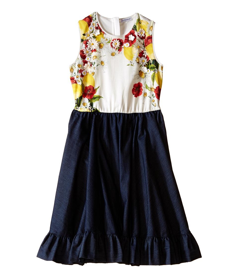 Dolce amp Gabbana Kids Fiori Denim Dress Big Kids Denim Print Girls Dress