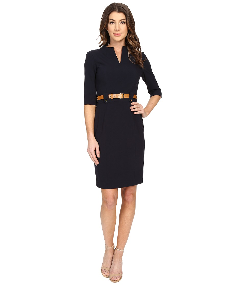 Tahari by ASL Belt Nina D Dress Navy Womens Dress