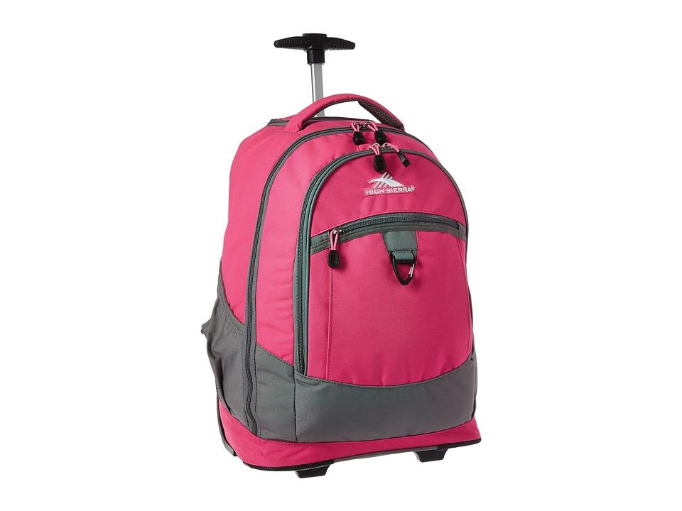 High Sierra Chaser Wheeled Backpack Flamingo Charcoal Bags